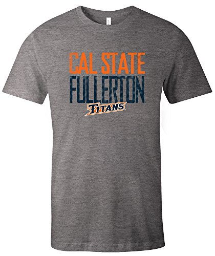 NCAA Cal State Fullerton Titans Adult Unisex NCAA Dotted Phrase Short sleeve Triblend T-Shirt,XL,Grey