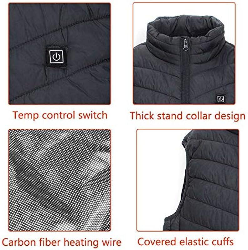 Ogrzewane kamizelki elektryczne 9 miejsc, dla mężczyzn i kobiet, na zimę, na kemping, wędrÓwki, wędkowanie, ciepła odzież termiczna, zasilanie USB, kolor czarny, S: Küche & Hau