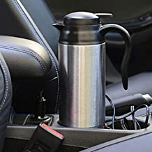 Raza 12V Car Based Heating Stainless Steel Cup Kettle 750ml Travel Thermoses Coffee Tea Heated Mug Motor Hot Water For Car Truck Use
