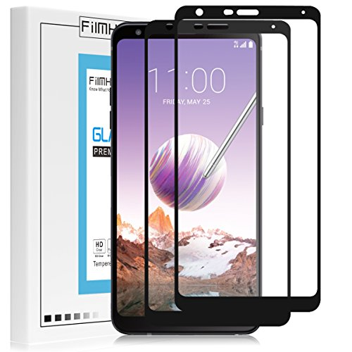 Pcs Screen Protector - [2-Pack] FilmHoo for LG Stylo 4 2018 (Metropcs) Tempered Glass Screen Protector[Full Coverage],HD Clear,Bubble Free,Anti-Scratch with Lifetime Replacement Warranty(Black)