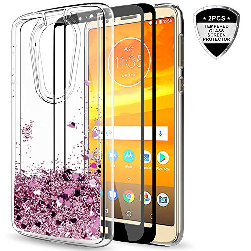 Moto E5 Plus Case, (Not Fit Moto E5) Moto E5 Supra Case with Tempered Glass Screen Protector [2 Pack] for Girls Women, LeYi Glitter Shiny Liquid Clear TPU Phone Case for Motorola E5 Plus ZX Rose Gold