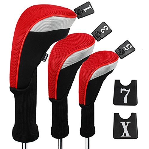 Andux 3pcs/Set Golf 460cc Driver Wood Head Covers Long Neck Interchangeable No. Tags Pack of 3 (Long Neck, Red, MT/MG22)