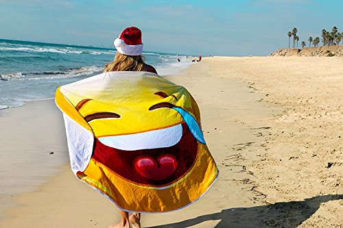 Crying Laughing Emoji Round Towel Chiffon Roundie Cry Laugh Face Circle Beach Blanket Gigantic Emoji Chiffon Towel by CHARM HOME (Image #2)