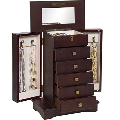 New Handcrafted Wooden Jewelry Box Organizer Wood Armoire Cabinet