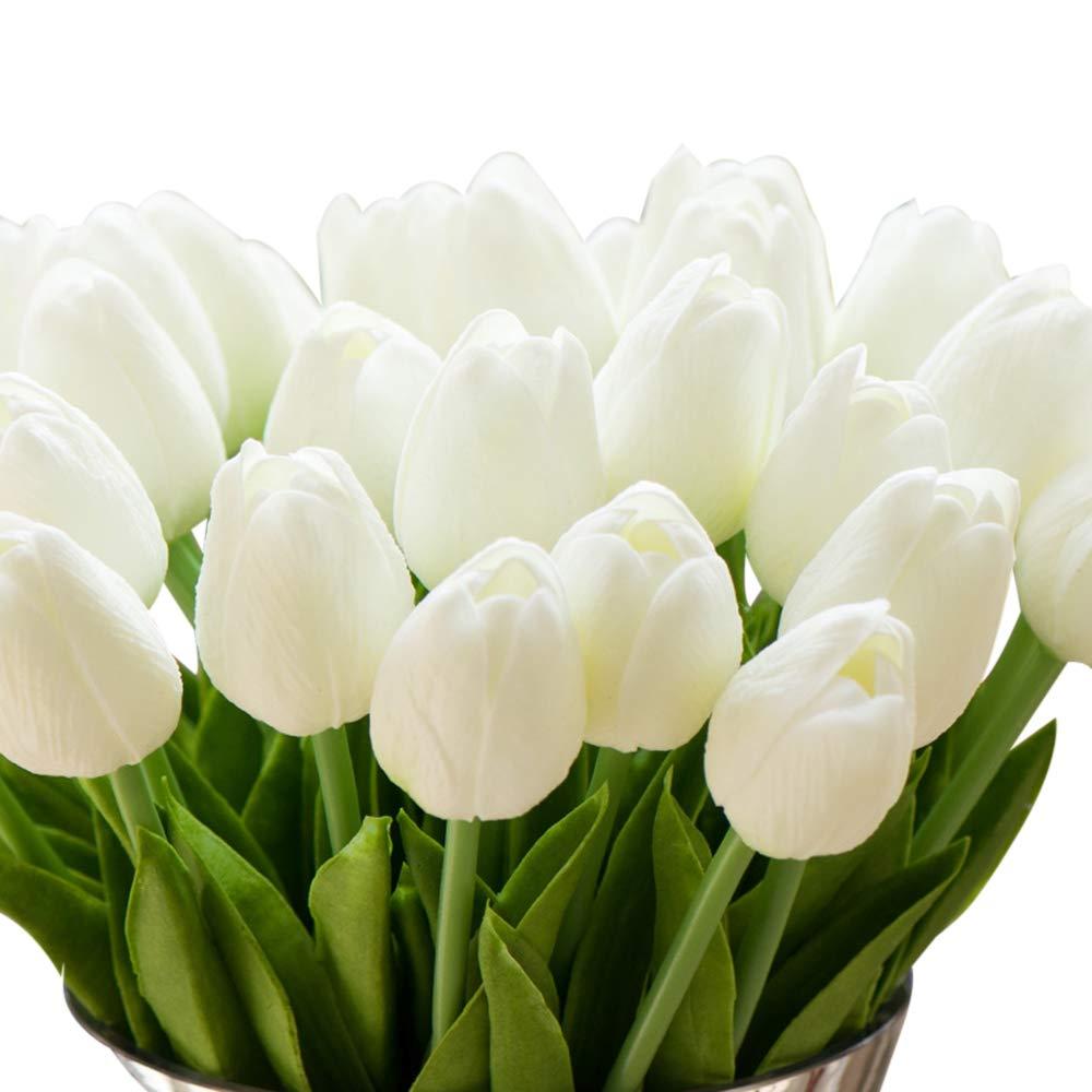 750bb1d6f Amazon.com: Montout 12PCS/Set PU Stunning Holland Tulip Flower Real Touch  Artificial Silk Flowers Arrangement Bouquet Home Room Office Wedding Party  Decor ...