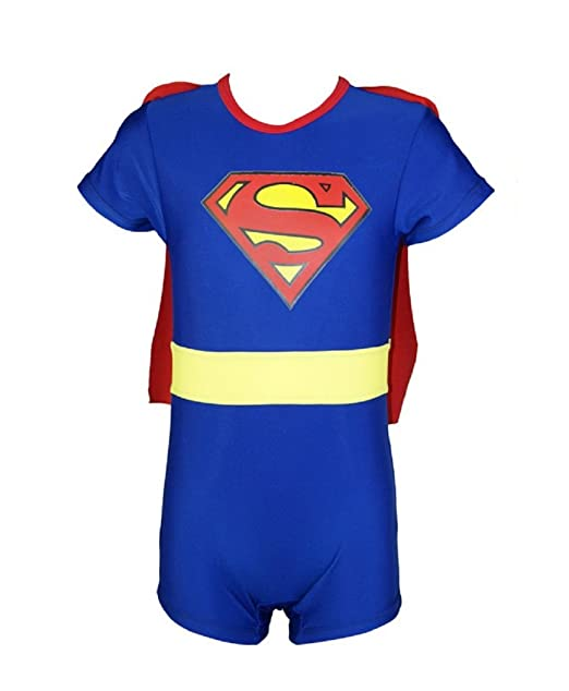 b5bf54f064 Baby Boys Hot Superman One Piece UV Protection Swimsuit With Hat and Cloak  blue-XXL