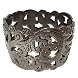 Gypsy Jewels Gun Metal Open Swirl Filigree Hinged Wide Bracelet