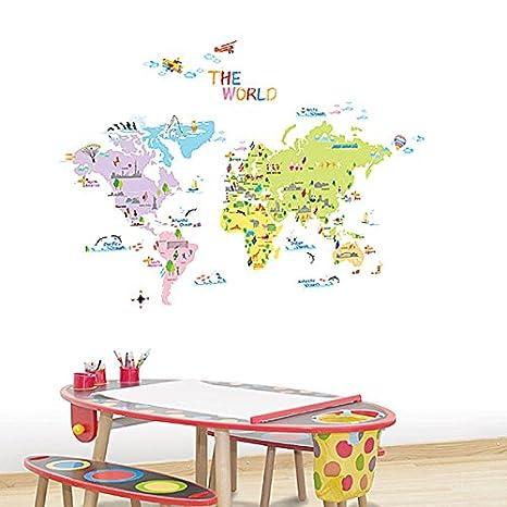 Amazon ケイララ ウォールステッカー 北欧 イラスト付き世界地図