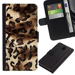 KingStore / Leather Etui en cuir / Samsung Galaxy Note 3 III / Patrón Leopard Moda Piel vestido de Dise?o