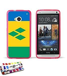 Carcasa Flexible Ultra-Slim HTC ONE de exclusivo motivo [Bandera San Vicente] [Rosa] de MUZZANO  + ESTILETE y PAÑO MUZZANO REGALADOS - La Protección Antigolpes ULTIMA, ELEGANTE Y DURADERA para su HTC ONE