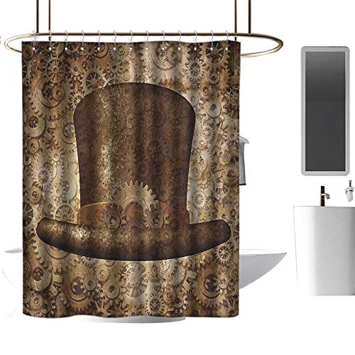 shower curtains for bathroom window Victorian Decor Collection,Steampunk Top Hat as a Science Fiction Concept Made of Metal Copper Gears and Cogs Image,Gold ,W72