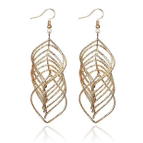 Personality Metallic Brushed Hollow Acrylic Big Leaf Shape Long Multilayer Alloy Gold Leaf Earrings Boho Jewelry For Women