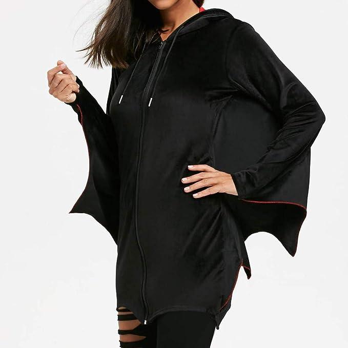 Luckycat Mujeres de la Moda Bat Wing Wave Corte Zip Up Sudadera con Capucha Pullover Abrigo Abrigo: Amazon.es: Ropa y accesorios