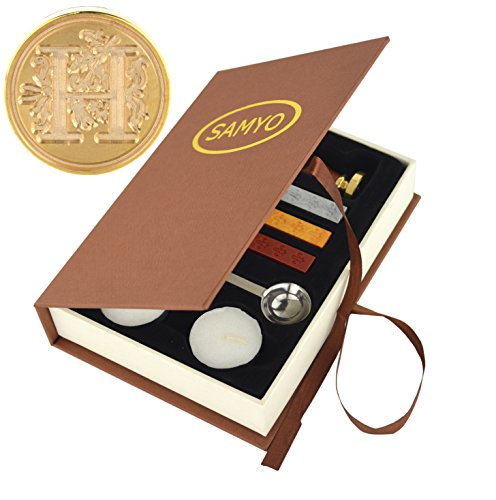 Samyo Stamp Seal Sealing Wax Vintage Classic Old-Fashioned Antique Alphabet Initial Letter Set Brass Color Creative Romantic Stamp Maker (H)