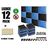 Arrowzoom New 12 Pieces of (25 X 25 X 5 cm) Soundproofing Insulation Wedge Acoustic Wall Foam Padding Studio Foam Tiles AZ1134 (BLACK & BLUE)