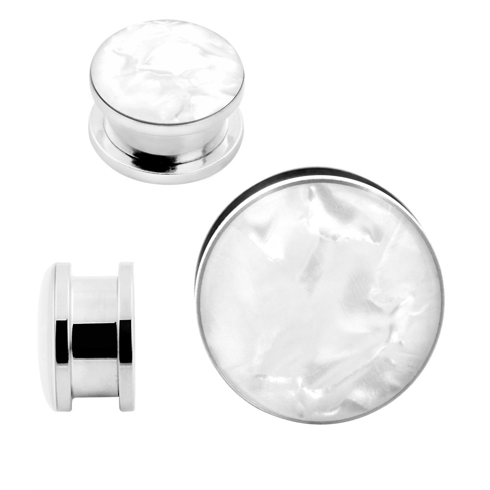 Qmcandy 2pcs 2G-1'' Stainless Steel Mother of Pearl or Opal Screw Ear Plugs Gauges Piering (B:11/16''(18MM))