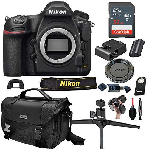 Nikon D850 DSLR Camera with Body (No Lens) + 32GB Card, Tripod,Case and More (13pc Bundle)