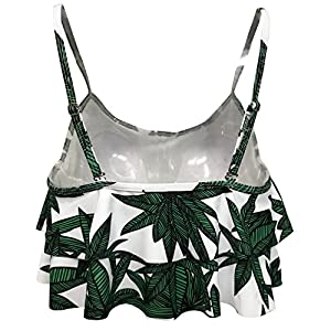 Gabrielle-Aug Women's Retro Falbala Soild Floral Flounce Bikini Top Chic Swimsuit(FBA) (10, Big Leaf)