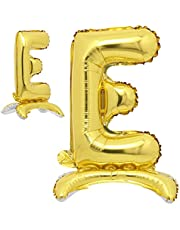 """16"""" Standing Gold Alphabet Letter and Number Balloons Aluminum Hanging Foil Film Banner Mylar Balloon for Birthday Party Decoration Custom Word (A-Z, 0-9 Gold) (16 inch Stand Gold E)"""