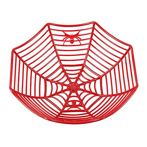 Clearance Sale!UMFun Spider Web Fruits Candy Plastic Basket Spiderweb Halloween Party Decor Kitchen 29x8 cm (Red) ()