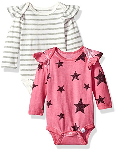 Rosie Pope Baby Girls 2 Pack Bodysuits, Pink/White Stars/Stripes, 0-3 Months -