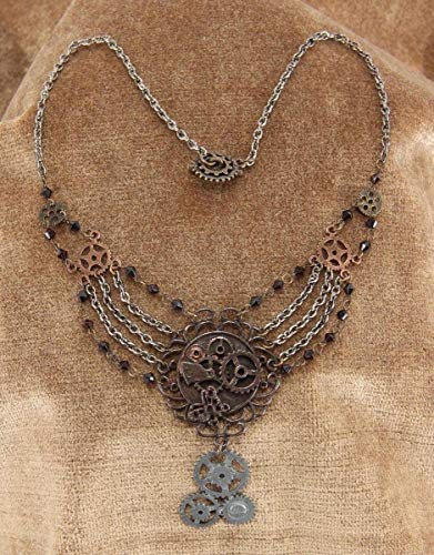 elope Steampunk Gear Chain Necklace for Adults and Women