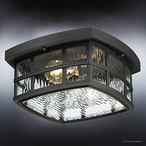 Luxury Craftsman Outdoor Ceiling Light, Small Size: 5.75''H x 12''W, with Tudor Style Elements, Highly-Detailed Design, High-End Black Silk Finish and Water Glass, UQL1248 by Urban Ambiance by Urban Ambiance (Image #2)