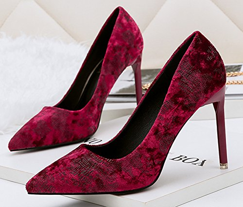 Aisun Womens Sexy Pointy Toe High Stiletto Heel Low Cut Dressy Party Bridal Slip On Pumps Shoes Wine Red X7gke7