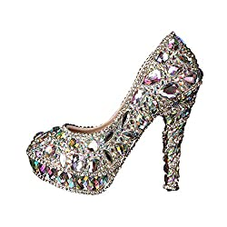 Colorful Crystal Shoes With High Heels