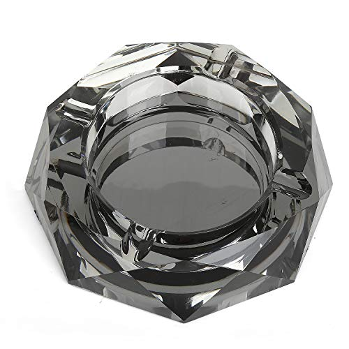 - DRSPSB Crystal Ashtray,Cigar Ashtray European Living Room Ash Tray Holder Cigarettes Decor Tray for Home Office Tabletop Decoration,Gift Ashtray,Smoker, (Black)