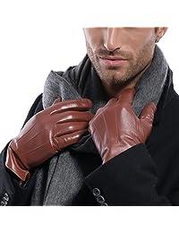 MATSU Luxury Men Winter Warm Lambskin Long Fleece Lined Leather Gloves M1006