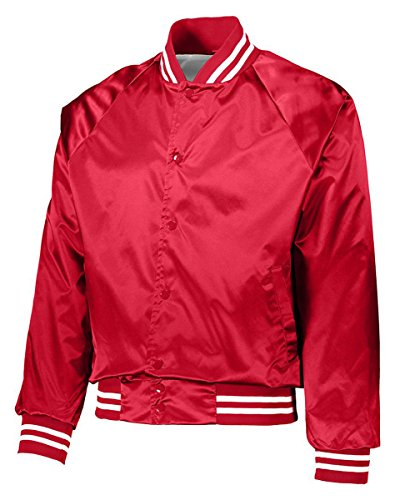 Augusta Sportswear Men's Satin Baseball Jacket, Red/White, X-S