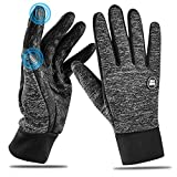 HOOMIL 2018 Newest Winter Touchscreen Gloves Men Women(M/L/XL) Unisex Warm Comfortable Windproof Running Cycling Ski Snowboard Touchscreen Fleece Gloves Black