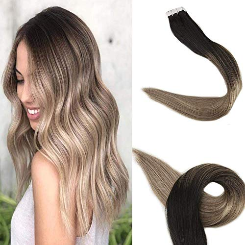 Full Shine 18 inch Ombre Hair Extensions Human Hair Extensions Glue in Human Hair Black Roots Color #1B Fading to #8 and #22 Blonde 20Pcs 50gram -
