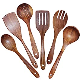 GEEKHOM Wooden Spoons for Cooking, 6-Piece Wood Kitchen Utensil Set for Non Stick Cookware with Natural Teak Wooden…