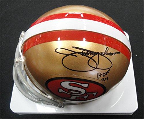 Johnson Autographed Mini Helmet (Jimmy Johnson Hand Signed Autographed Mini Helmet San Francisco 49ers HOF 94)