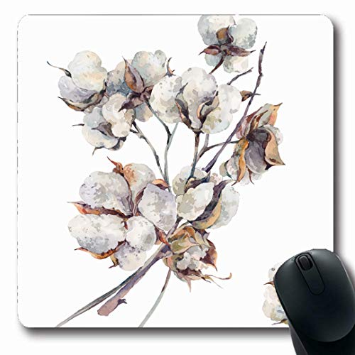 Ahawoso Mousepads Farm Drawing Watercolor Vintage Bouquet Twigs Flowers Nature Botany Leaf Pattern Stem Blossom Design Oblong Shape 7.9 x 9.5 Inches Non-Slip Gaming Mouse Pad Rubber Oblong Mat