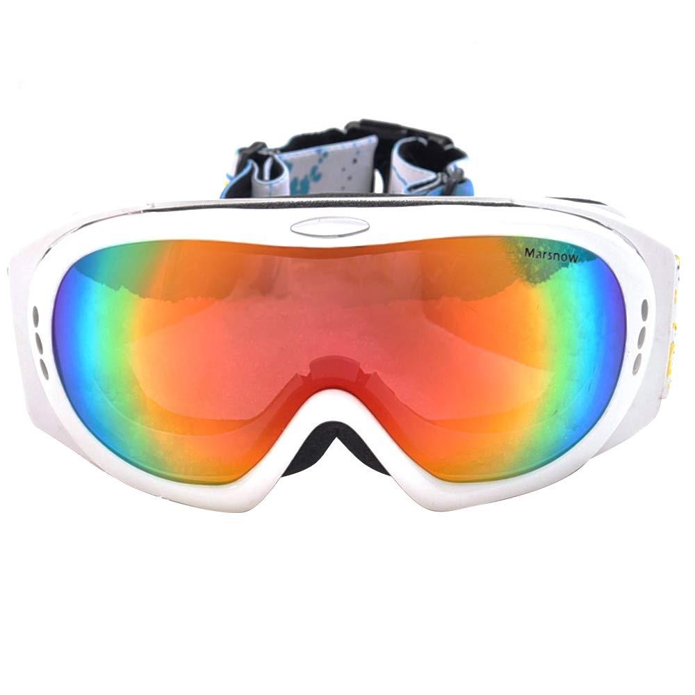 WJ スキーゴーグル スキーゴーグル - TPU/PC、ダブルアンチフォグ、ダブル偏光レンズ、大きな球面、近視に持ち込むことができ、グレアを避けることができ、専門的な防風性の高い屋外登山スキーゴーグル(4色使用可能) /-/ (色 : 白い frame) 白い frame