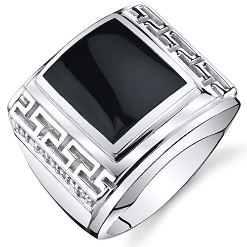 Mens Greek Key Onyx Chunky Ring Sterling Silver Size 8