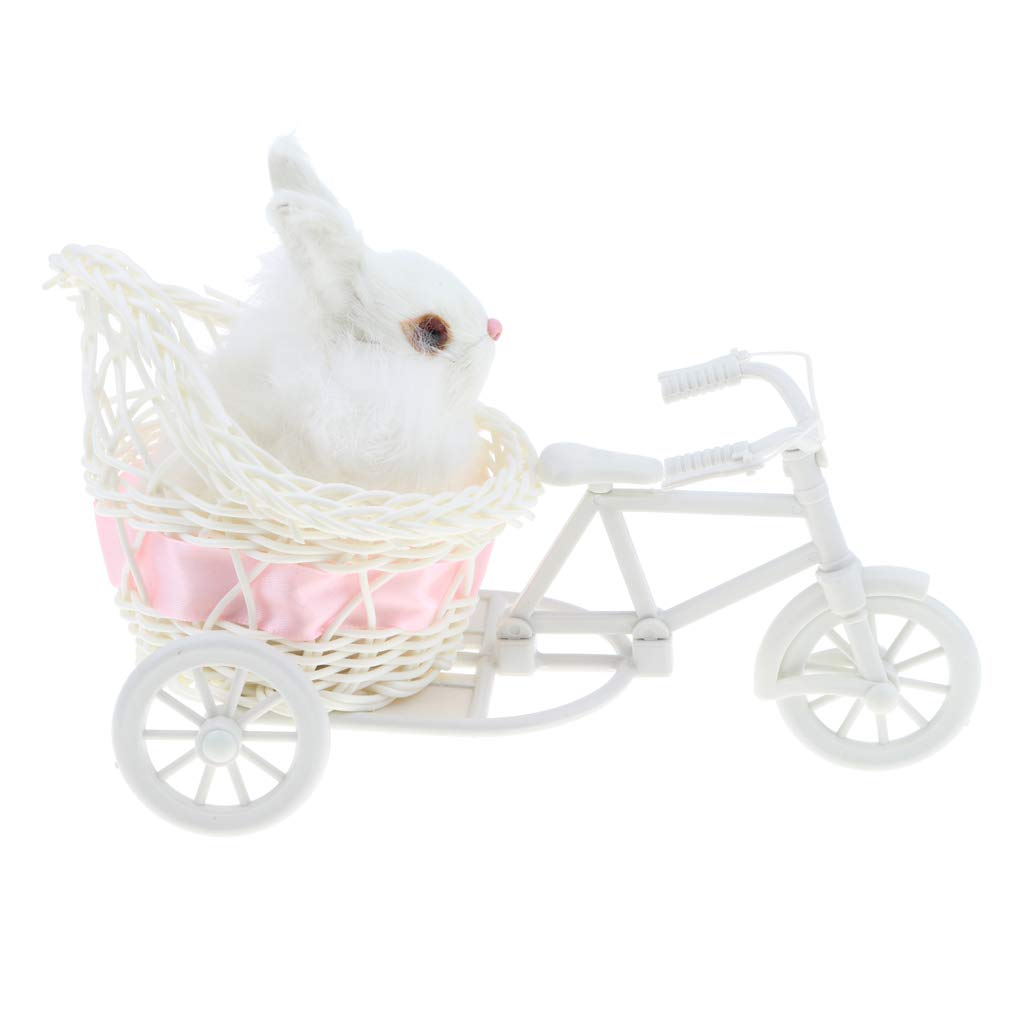 Sharplace Cute Plush Rabbit of Tricycle Stuffed Animals Rabbit Pet Model Figurine Soft Figures Statue Kids Toy Home Decor Collectibles #B