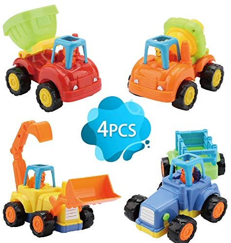 Push and Go Cars for Kids, Friction Powered Toy Sand Play Tractor Truck Toy Baby Early Education Sets of 4,Gift for Children Boys Girls for 3+ Year Olds