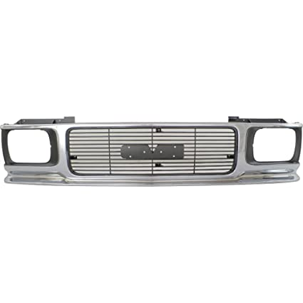 ef8a815852f6e Grille for GMC Jimmy 92-94 Sonoma 91-93 ABS Plastic Chrome  Shell/Painted-Gray Insert
