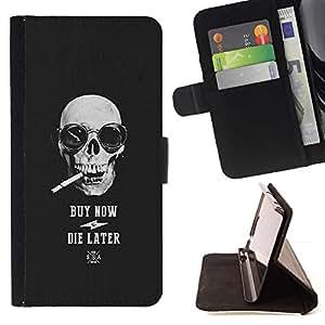 Momo Phone Case / Flip Funda de Cuero Case Cover - El humo del cigarrillo fresco Comprar Cráneo Negro - Samsung Galaxy S6 Edge Plus / S6 Edge+ G928