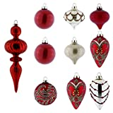V&M VALERY MADELYN 10ct Glass Christmas Ball Ornaments, 3.15inch-8.27inch /8CM-21CM Christmas Hanging Ornaments With String Pre-Tie (Luxury Red and Gold)