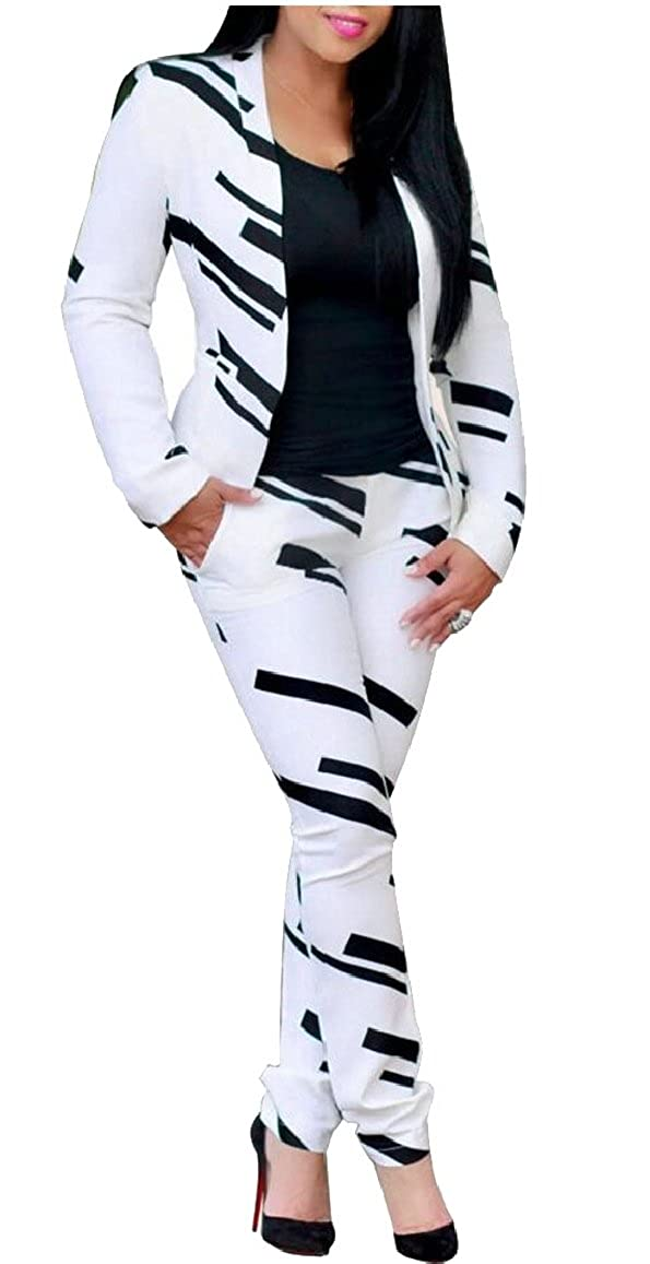 M/&S/&W Womens Two Piece Outfits Print Long Sleeve Casual Blazers with Pants Sets