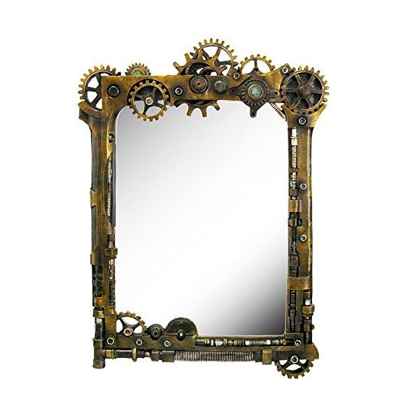 Pacific Giftware Steampunk Gearwork Time Travel Wall Sculptural Mirror 22 Inch Tall Decorative Steampunk Accent 3