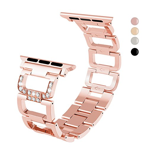 For Apple Watch Band Series 3 Series 2 Series 1 Nike+ Hermes Edition, Rose Gold Matel Straps with Bling Metal with Hook and Loop Fastener, Adjustable Closure Wrist Strap, Replacement - Link Gold Yellow