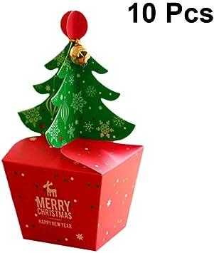 Caja de regalo de Navidad con diseño de árbol de Navidad y campana, 10 unidades, tamaño L: Amazon.es: Salud y cuidado personal