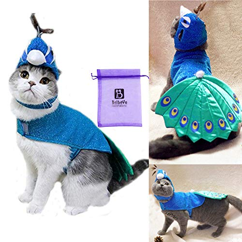 Bro'Bear Pet Peacock Costume with Hat for Small Dogs & Cats Blue ()