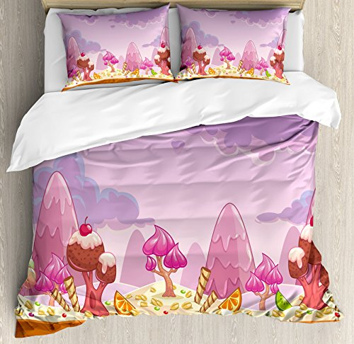 Girls Room Decor Duvet Cover Set by Ambesonne, Cartoon Sweet Candy Land Cupcakes Ice Cream Chocolate Oranges Mountains, 3 Piece Bedding Set with Pillow Shams, King Size, (Candyland Theme Cake)